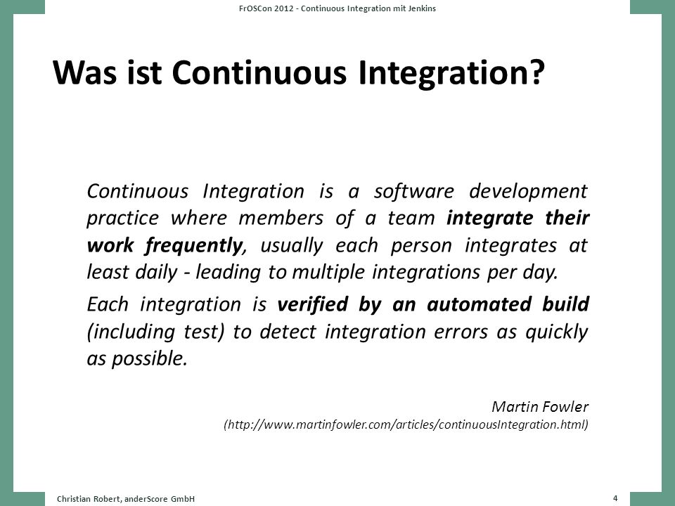 Was ist Continuous Integration