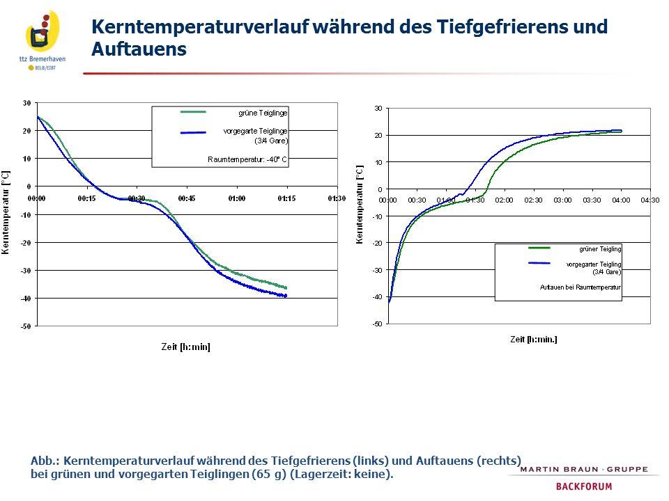 Kerntemperaturverlauf während des Tiefgefrierens und Auftauens