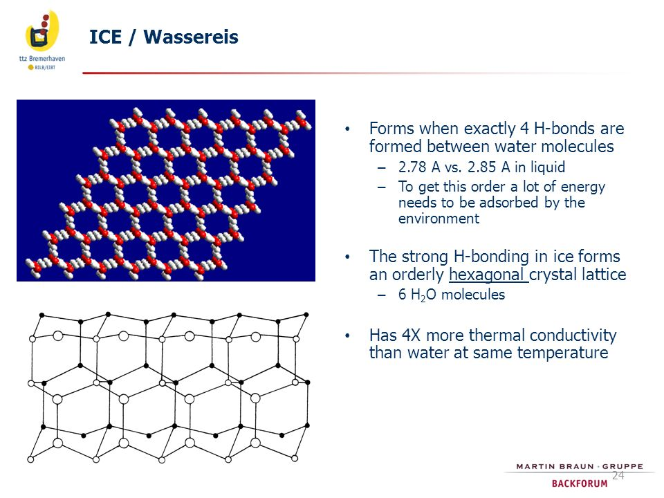 ICE / Wassereis Forms when exactly 4 H-bonds are formed between water molecules. 2.78 A vs. 2.85 A in liquid.
