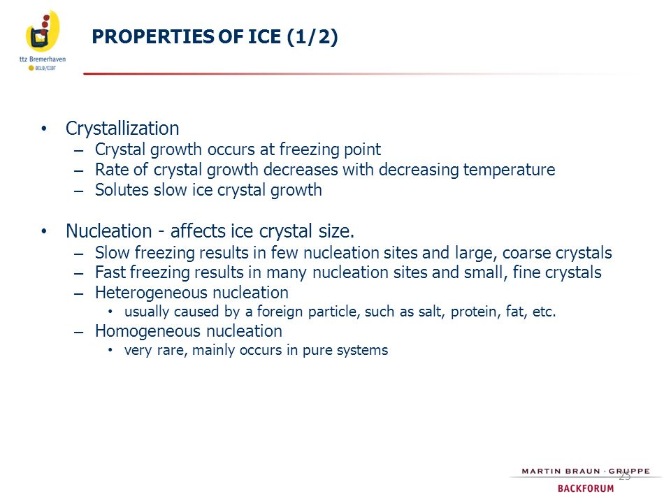 Nucleation - affects ice crystal size.