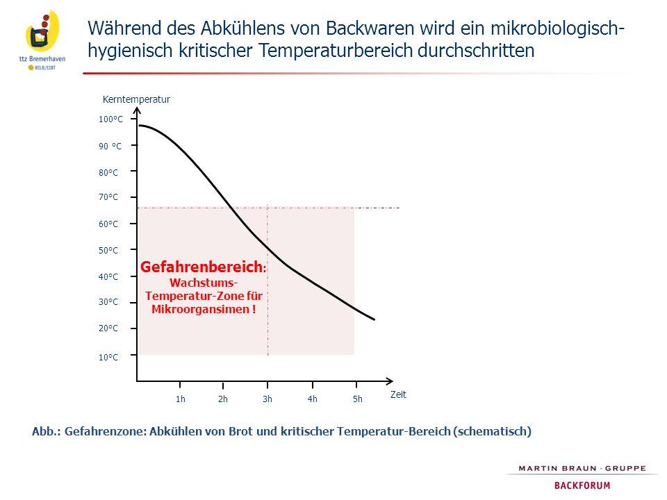 Gefahrenbereich: Wachstums-Temperatur-Zone für Mikroorgansimen !