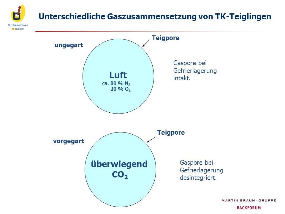 Unterschiedliche Gaszusammensetzung von TK-Teiglingen