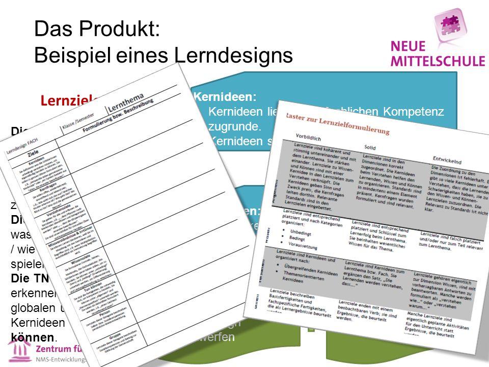 Das Produkt: Beispiel eines Lerndesigns