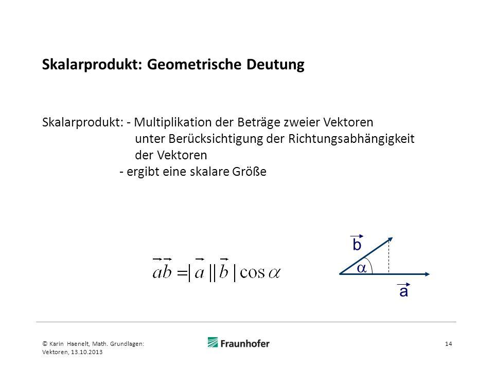 Skalarprodukt: Geometrische Deutung