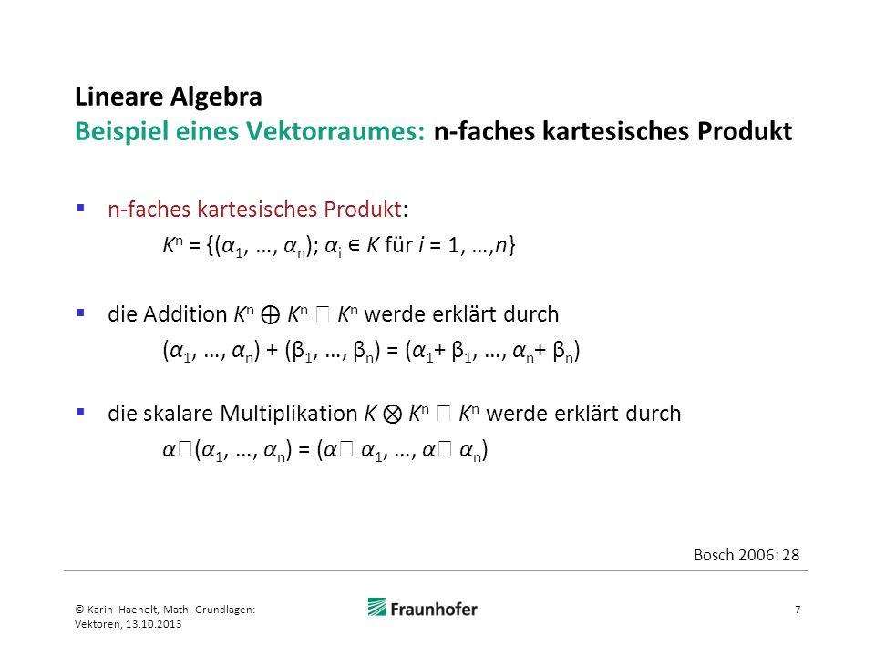 Lineare Algebra Beispiel eines Vektorraumes: n-faches kartesisches Produkt