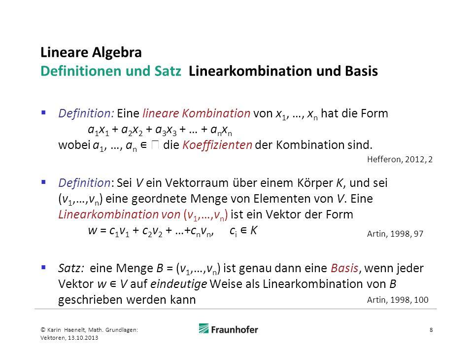 Lineare Algebra Definitionen und Satz Linearkombination und Basis