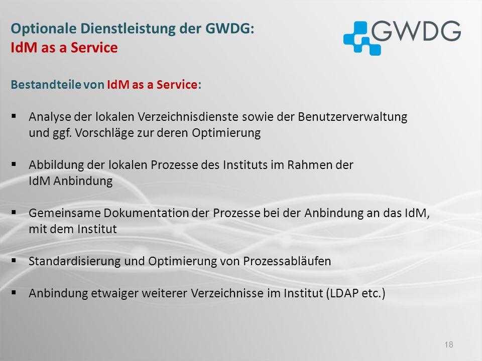Optionale Dienstleistung der GWDG: IdM as a Service