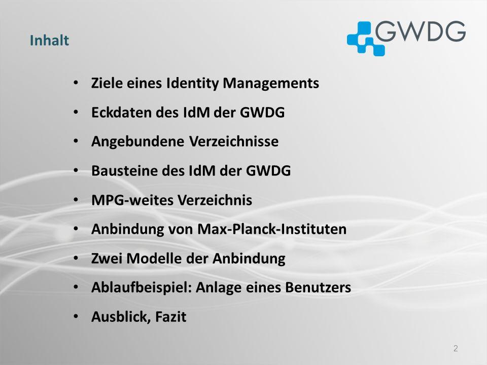 InhaltZiele eines Identity Managements. Eckdaten des IdM der GWDG. Angebundene Verzeichnisse. Bausteine des IdM der GWDG.