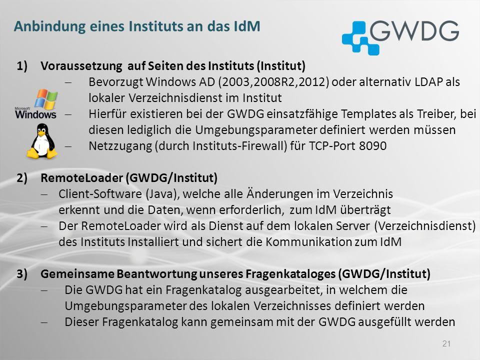 Anbindung eines Instituts an das IdM