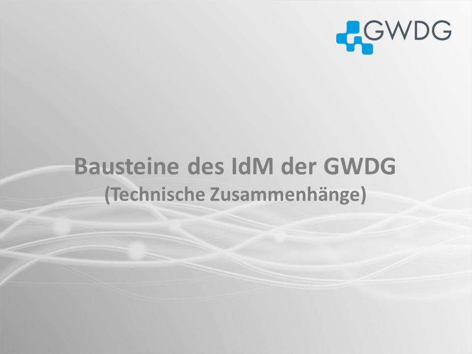 Bausteine des IdM der GWDG (Technische Zusammenhänge)