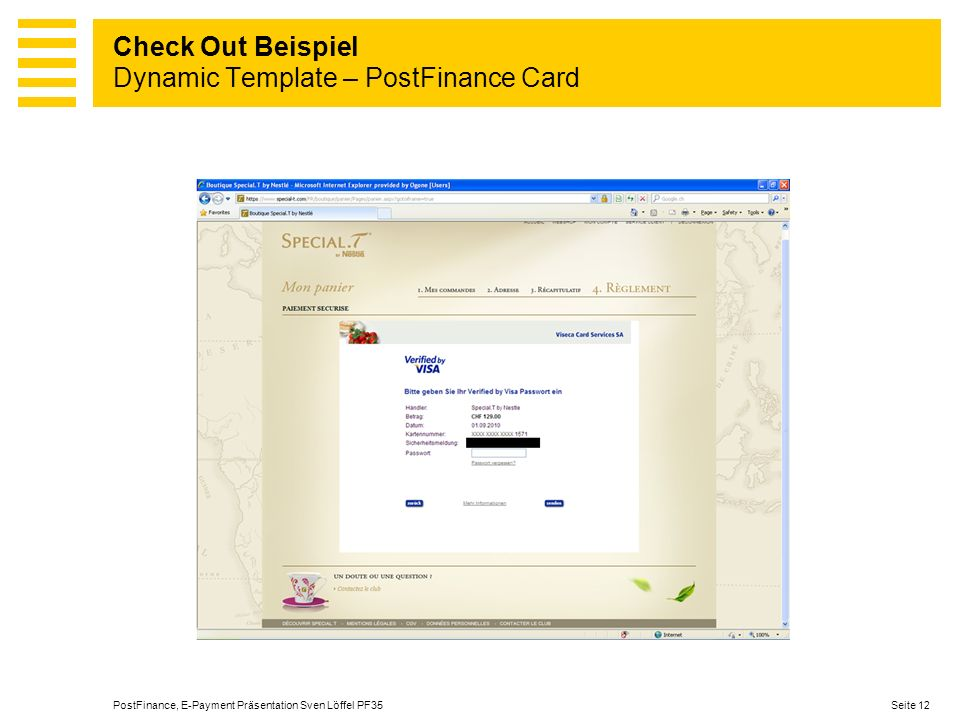 Check Out Beispiel Dynamic Template – PostFinance Card