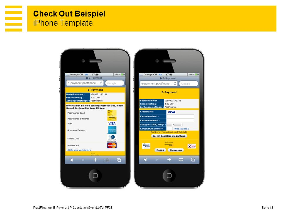 Check Out Beispiel iPhone Template