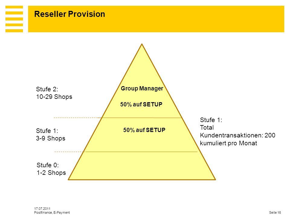 Reseller Provision Stufe 2: 10-29 Shops