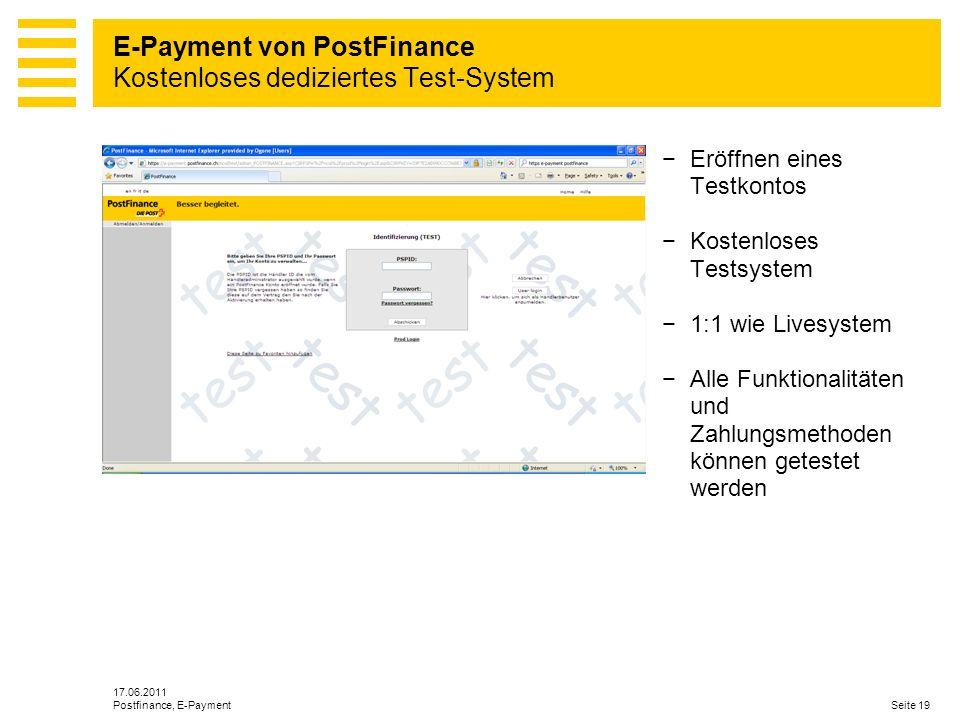 E-Payment von PostFinance Kostenloses dediziertes Test-System