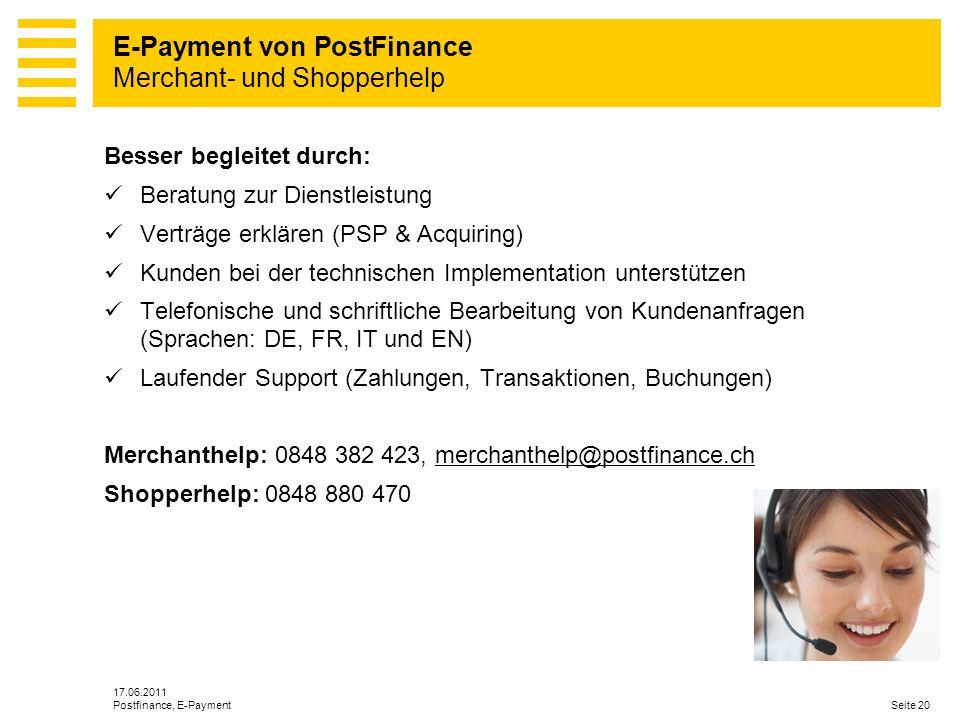E-Payment von PostFinance Merchant- und Shopperhelp