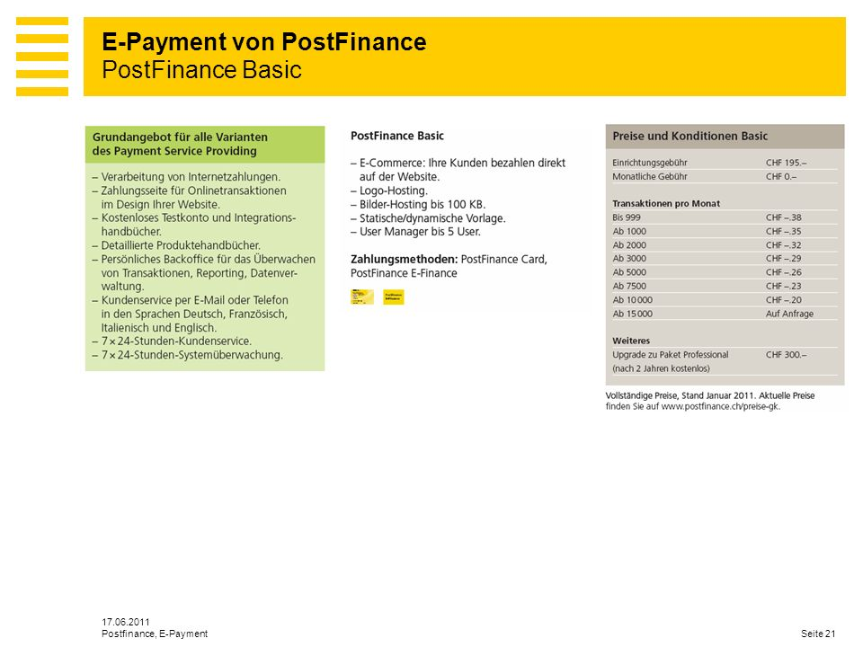 E-Payment von PostFinance PostFinance Basic