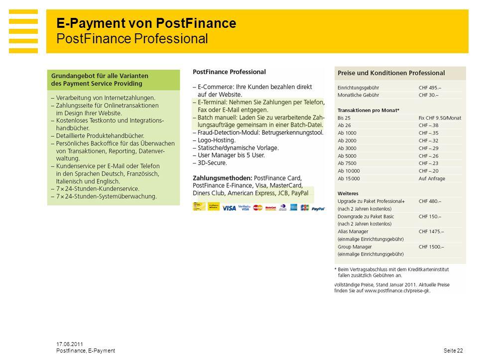 E-Payment von PostFinance PostFinance Professional