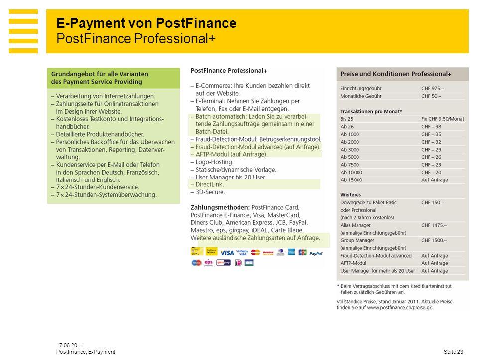 E-Payment von PostFinance PostFinance Professional+