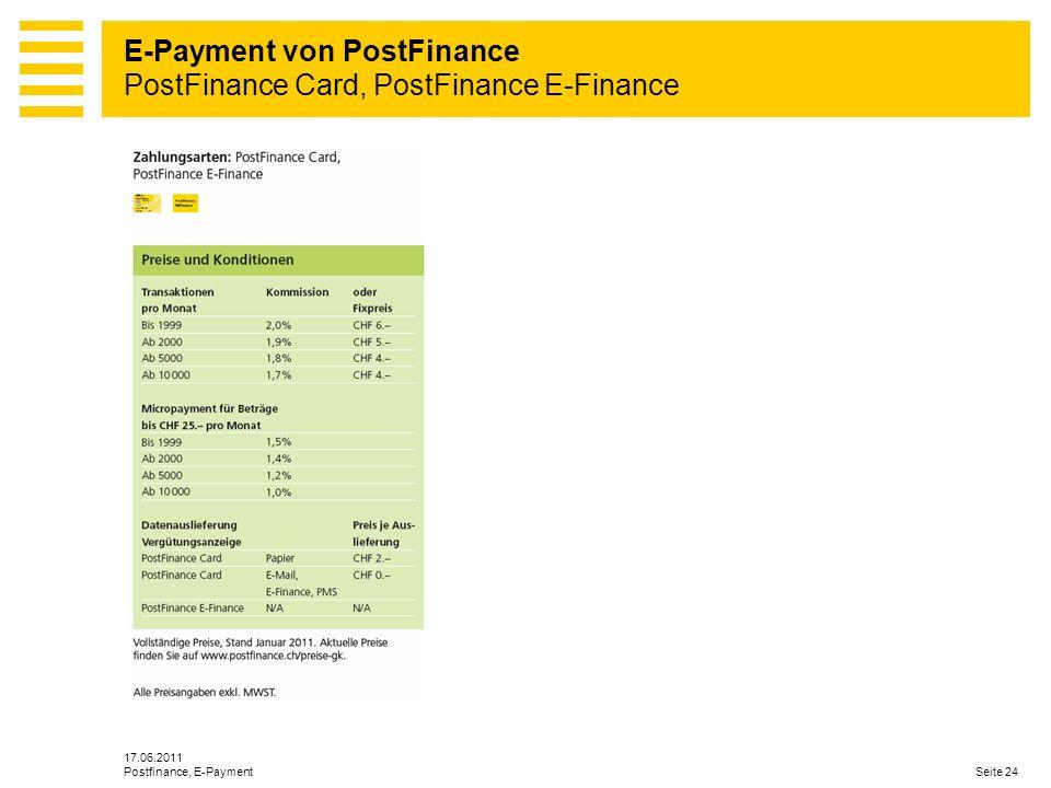 E-Payment von PostFinance PostFinance Card, PostFinance E-Finance