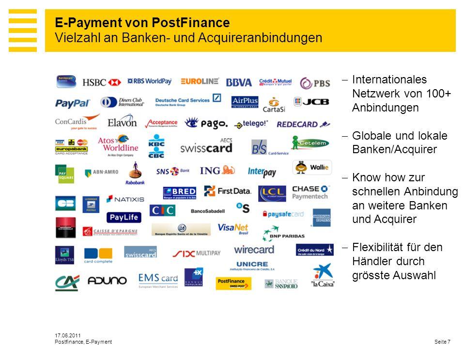 E-Payment von PostFinance Vielzahl an Banken- und Acquireranbindungen