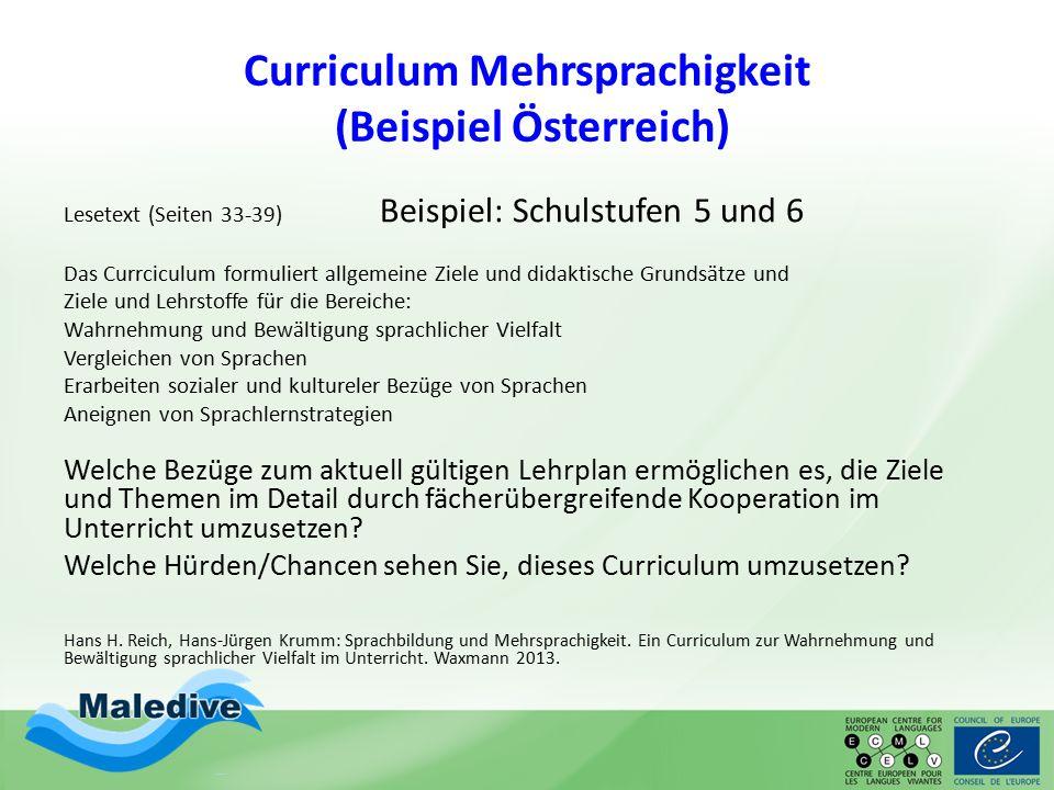 Curriculum Mehrsprachigkeit (Beispiel Österreich)