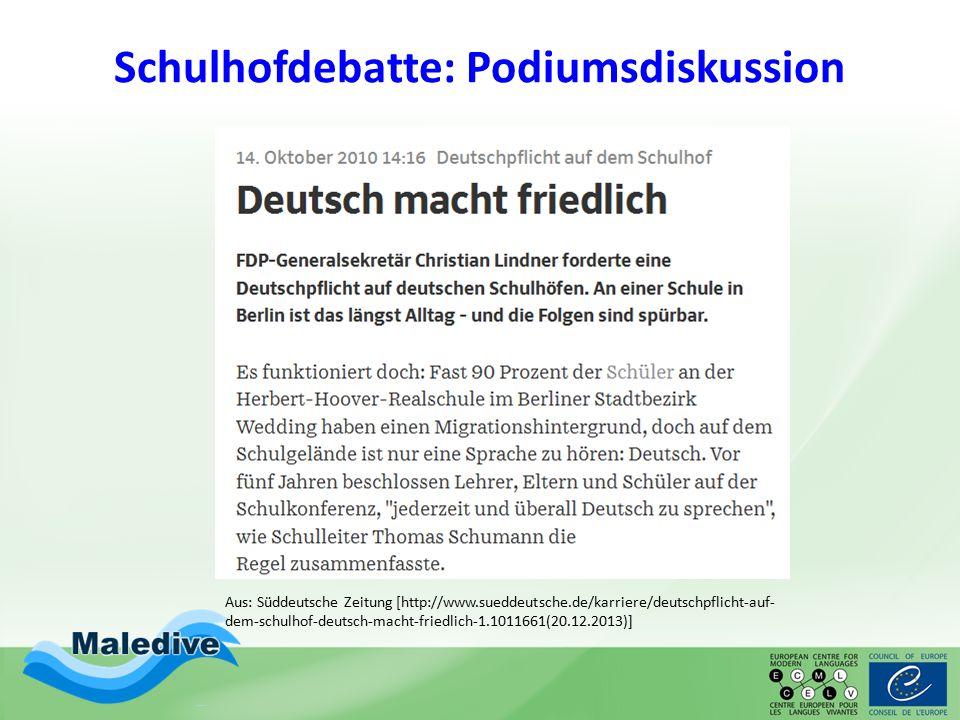Schulhofdebatte: Podiumsdiskussion