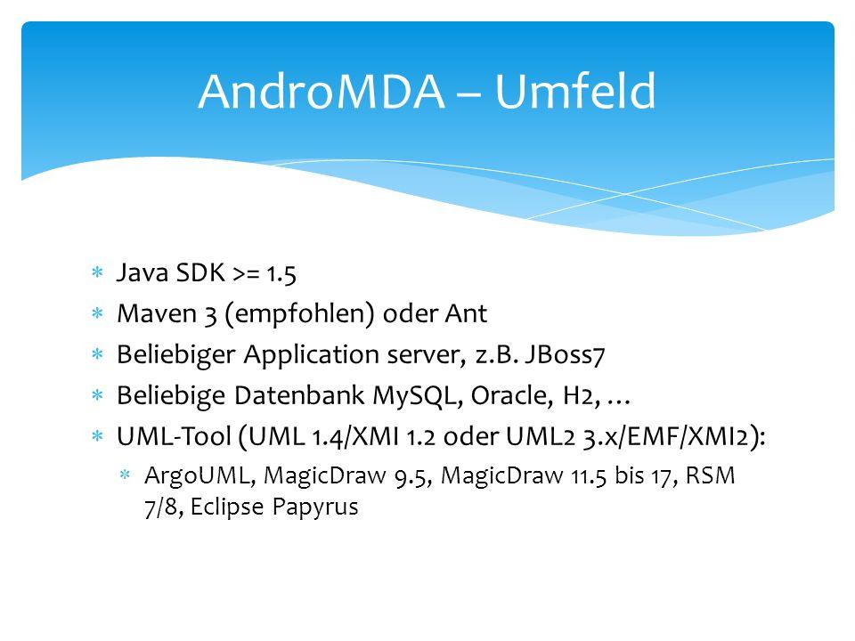 AndroMDA – Umfeld Java SDK >= 1.5 Maven 3 (empfohlen) oder Ant