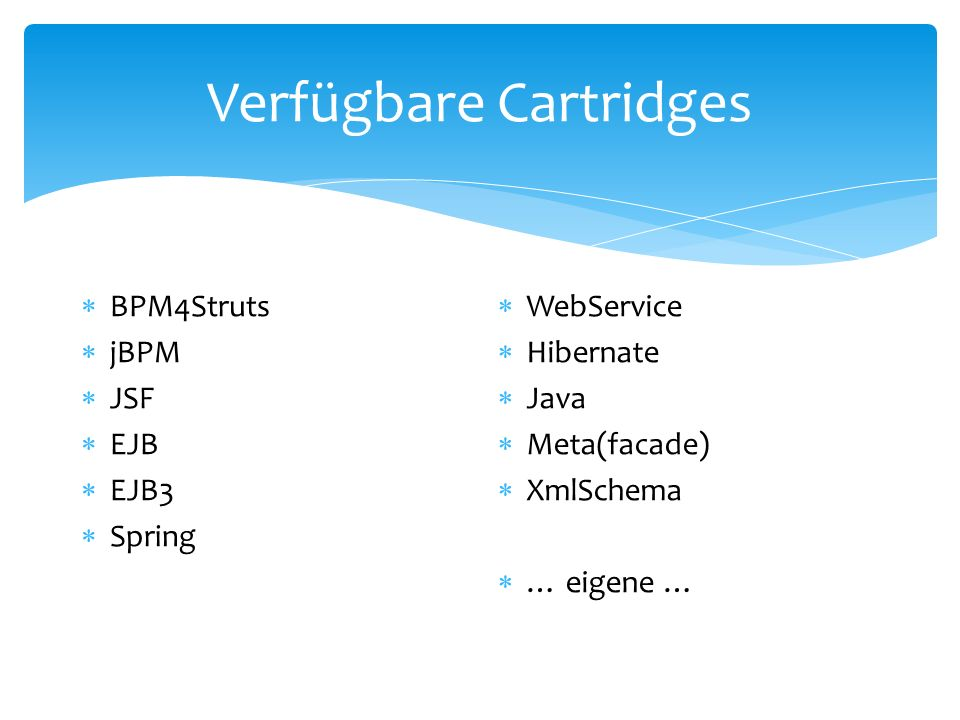 Verfügbare Cartridges