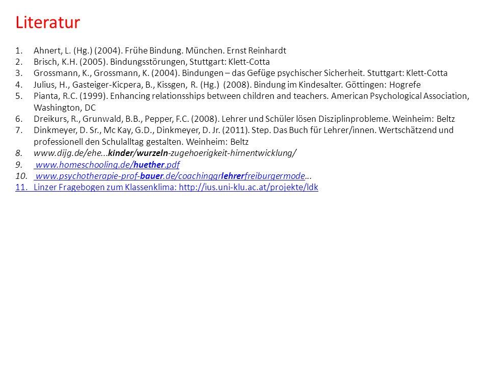 Literatur Ahnert, L. (Hg.) (2004). Frühe Bindung. München. Ernst Reinhardt. Brisch, K.H. (2005). Bindungsstörungen, Stuttgart: Klett-Cotta.