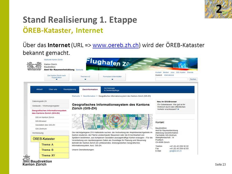 Stand Realisierung 1. Etappe ÖREB-Kataster, Internet