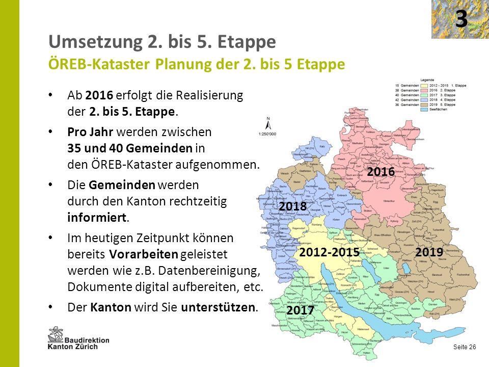 Umsetzung 2. bis 5. Etappe ÖREB-Kataster Planung der 2. bis 5 Etappe