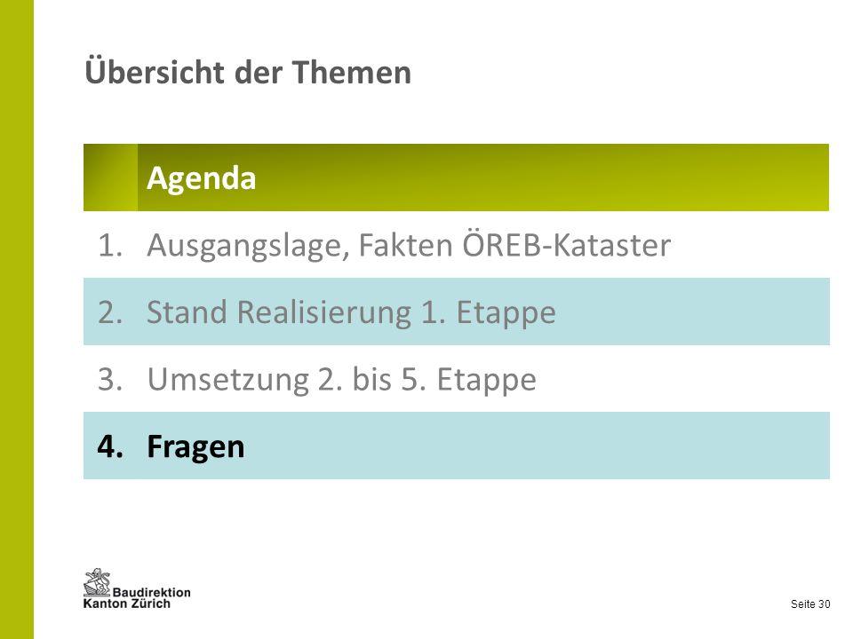 Übersicht der Themen Agenda. 1. Ausgangslage, Fakten ÖREB-Kataster. 2. Stand Realisierung 1. Etappe.