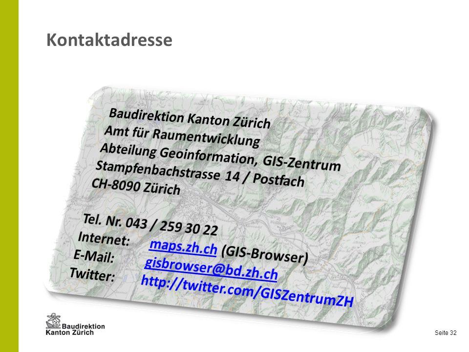 Kontaktadresse Baudirektion Kanton Zürich Amt für Raumentwicklung