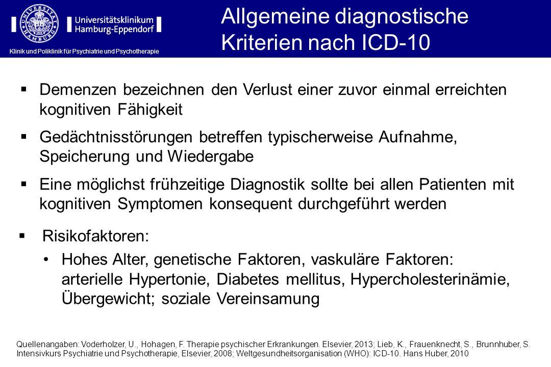 Allgemeine diagnostische Kriterien nach ICD-10