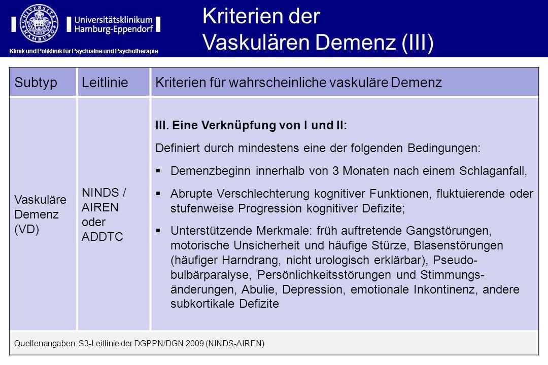 Vaskulären Demenz (III)