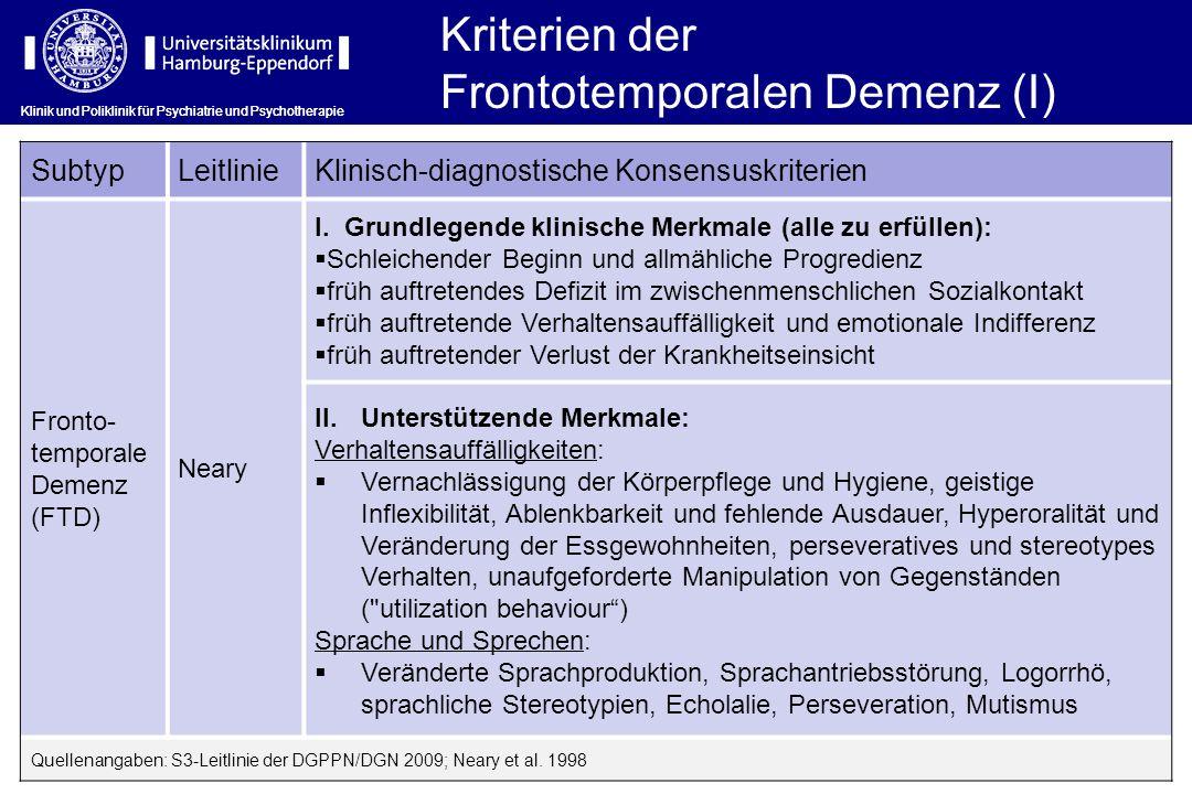 Frontotemporalen Demenz (I)