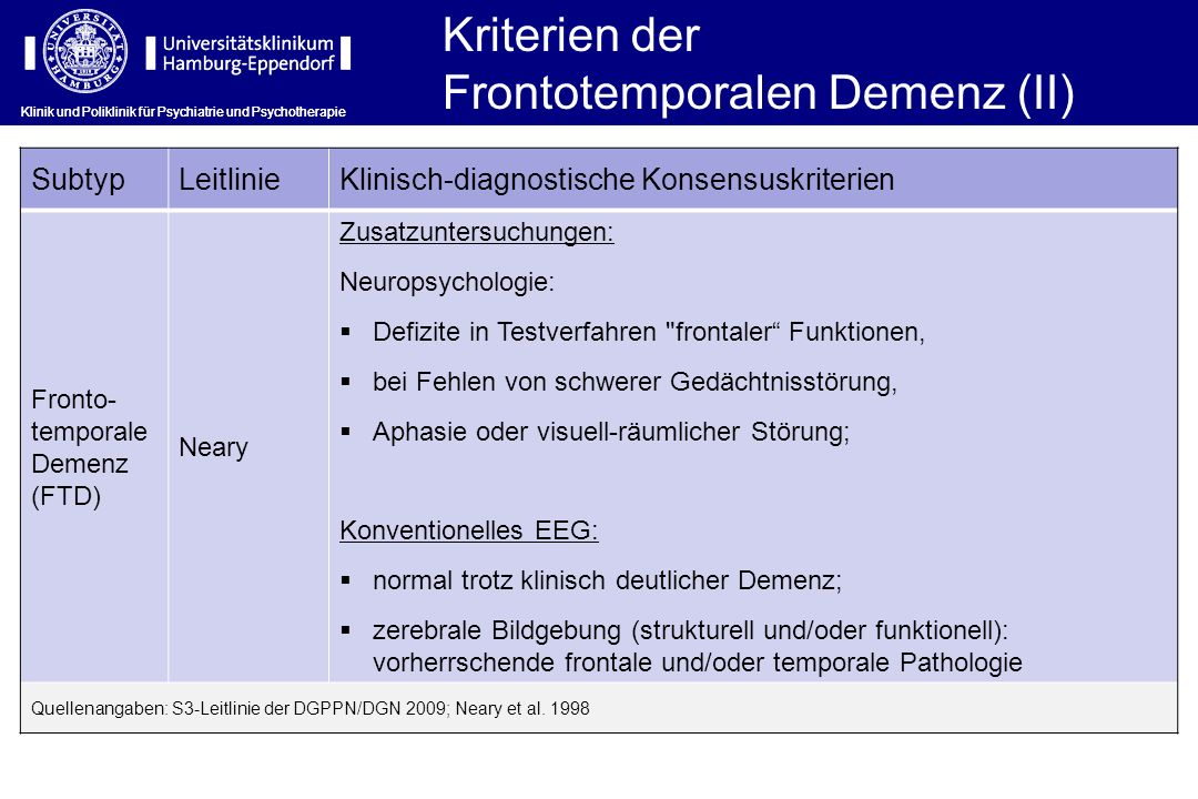 Frontotemporalen Demenz (II)