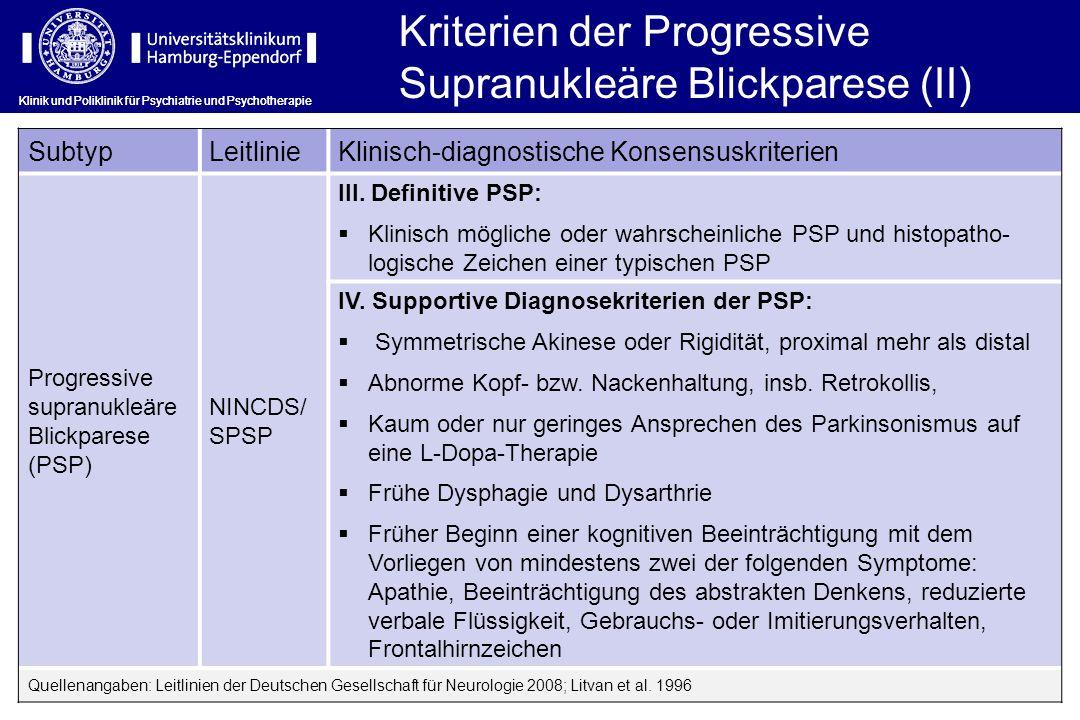 Kriterien der Progressive Supranukleäre Blickparese (II)