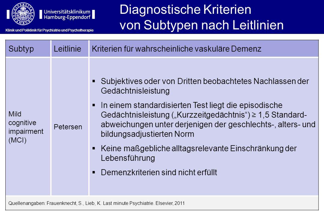 Diagnostische Kriterien von Subtypen nach Leitlinien
