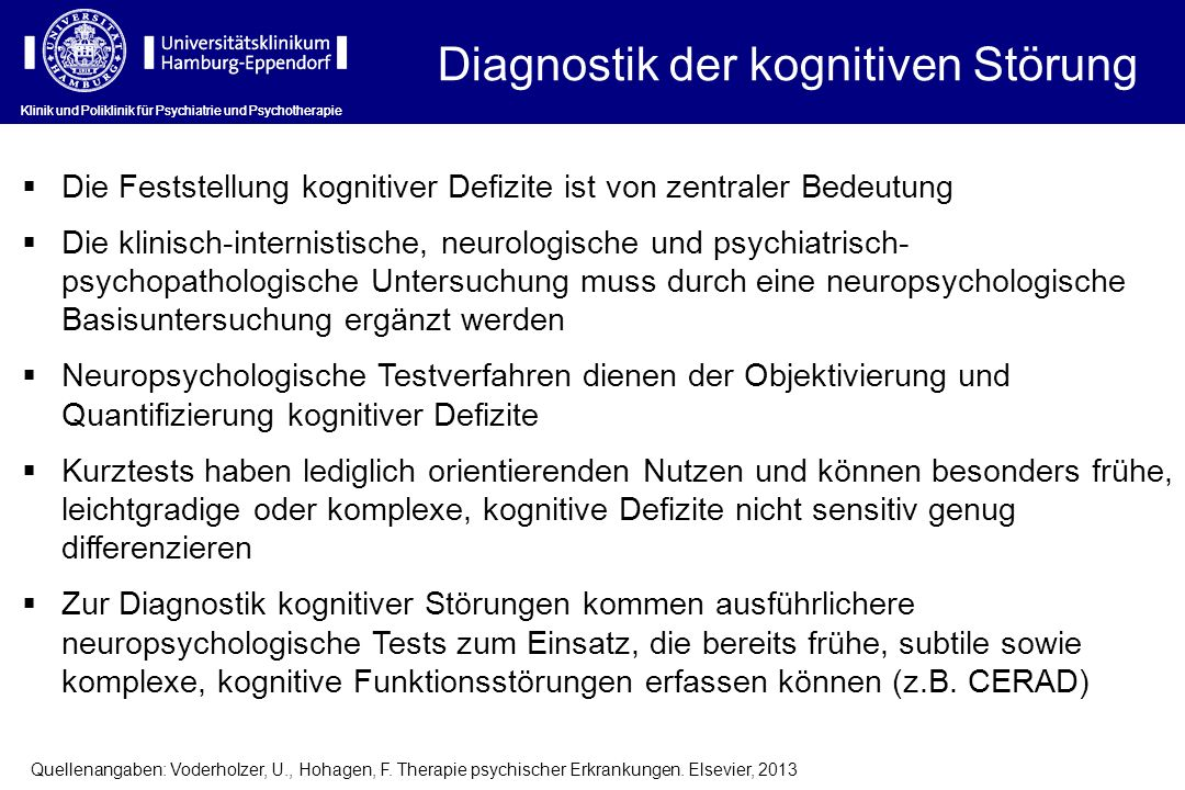 Diagnostik der kognitiven Störung