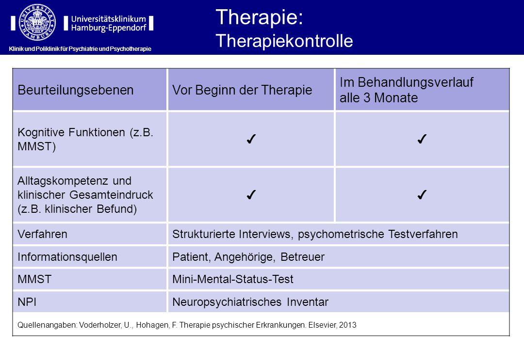 Therapie: Therapiekontrolle Beurteilungsebenen Vor Beginn der Therapie