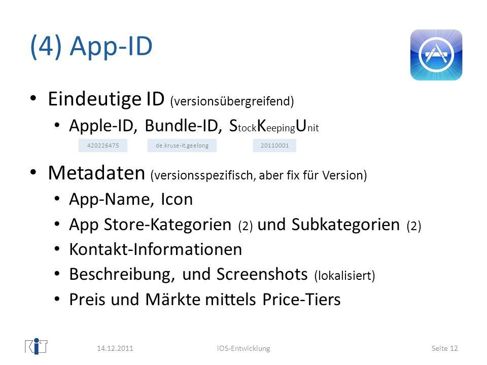 (4) App-ID Eindeutige ID (versionsübergreifend)