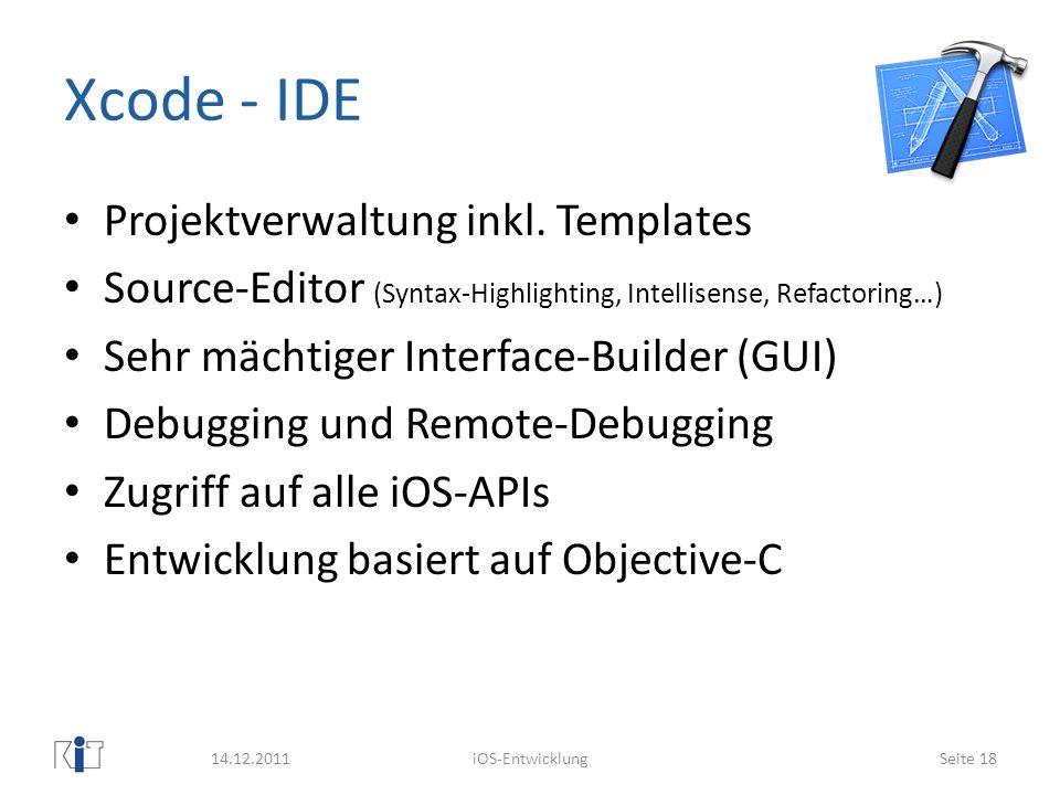 Xcode - IDE Projektverwaltung inkl. Templates