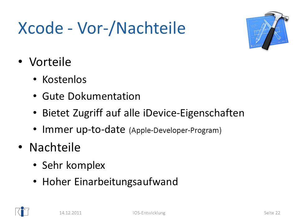 Xcode - Vor-/Nachteile