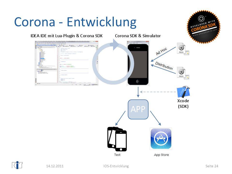 Corona - Entwicklung 14.12.2011 iOS-Entwicklung