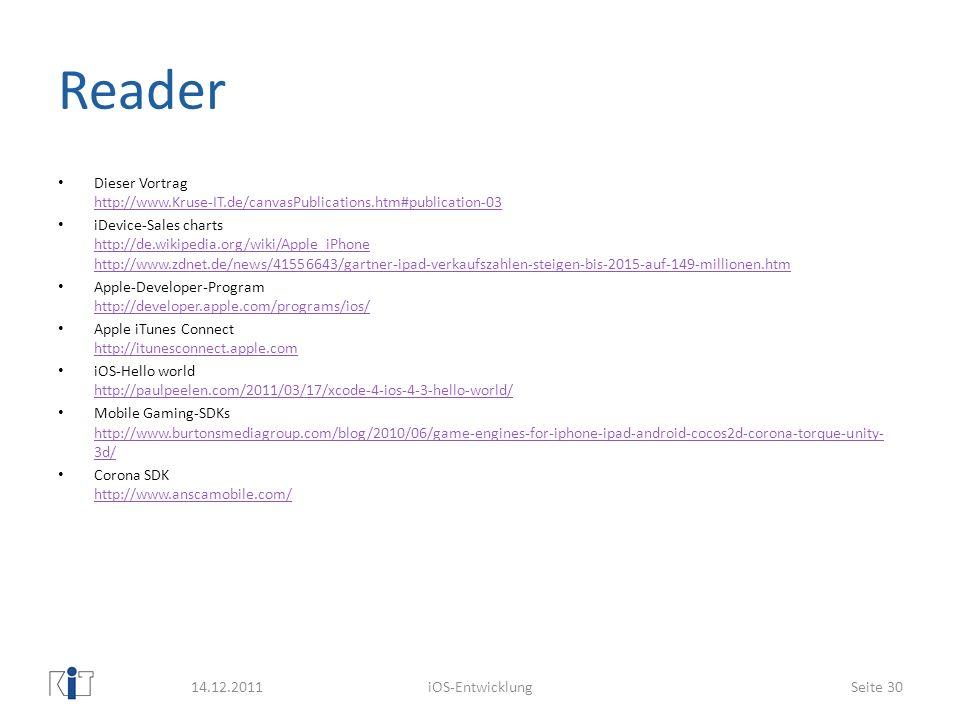 ReaderDieser Vortrag http://www.Kruse-IT.de/canvasPublications.htm#publication-03.