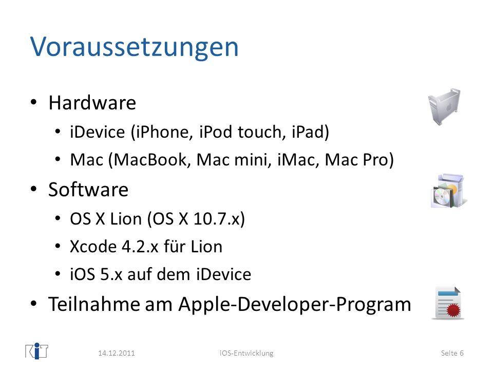 Voraussetzungen Hardware Software Teilnahme am Apple-Developer-Program