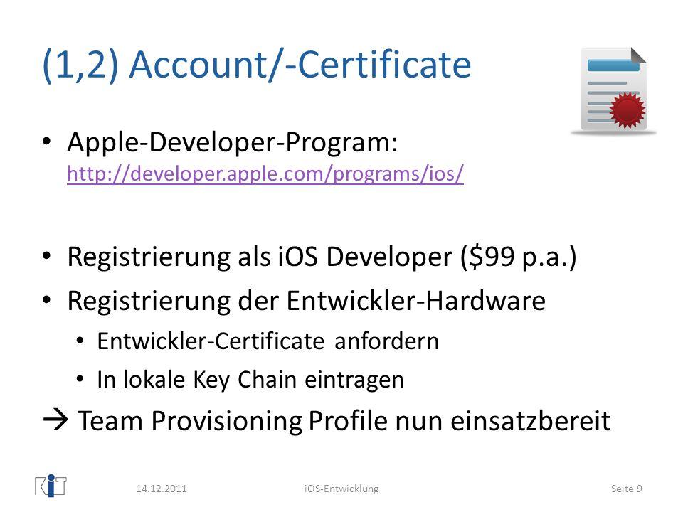 (1,2) Account/-Certificate