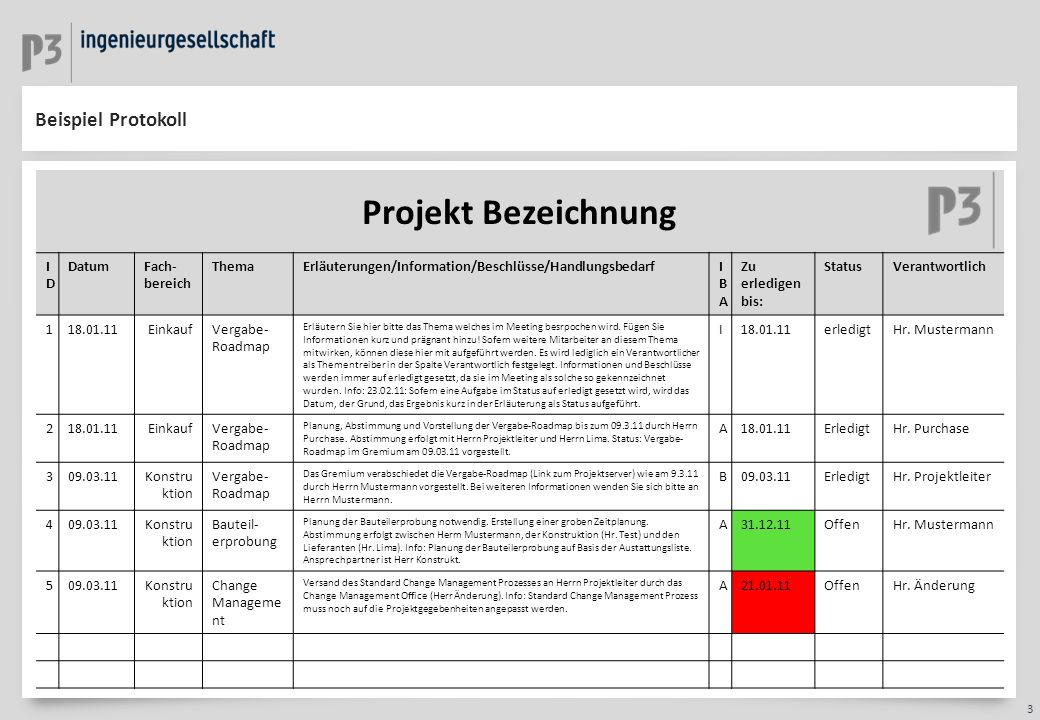 Projekt Bezeichnung Beispiel Protokoll ID Datum Fach-bereich Thema