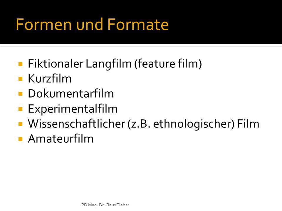 Formen und Formate Fiktionaler Langfilm (feature film) Kurzfilm